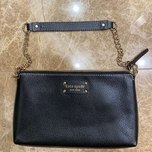 kate spade Black Leather Bag with Gold Chain